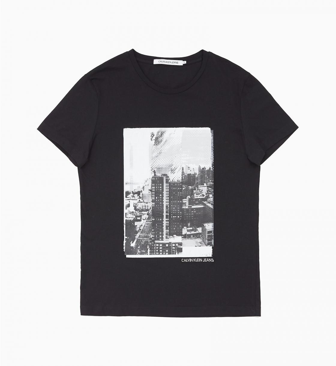 Herren Slim Fit T-Shirt mit Fotoprint BLACK