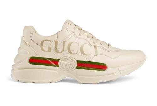 Rhyton Damensneaker aus Leder mit Gucci Logo
